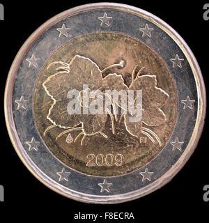 Nationale Seite Der Zwei Euro Münze Von Irland Auf Schwarzem
