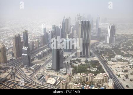 Dubai - Blick vom Burj Khalifa Tower, Vereinigte Arabische Emirate - Stockfoto