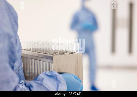 Wissenschaftler mit Tablett von Reagenzgläsern im Labor - Stockfoto
