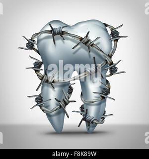 Zahn Schmerzen Zahnarzt Zahnschmerzen Konzept als Sinnbild menschlichen Molaren mit scharfen Stacheldraht als Zahnarzt Metapher für empfindliche Zähne oder
