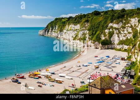 Mit Blick auf den Strand und Klippen bei Bier in Lyme Bay Devon England UK Europa - Stockfoto