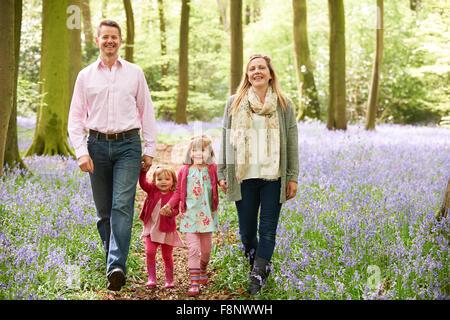 Familie zu Fuß durch Bluebell Woods zusammen - Stockfoto