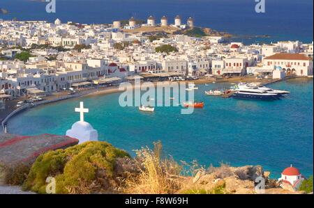 Luftaufnahme der Stadt Mykonos Chora - Insel Mykonos, Griechenland - Stockfoto
