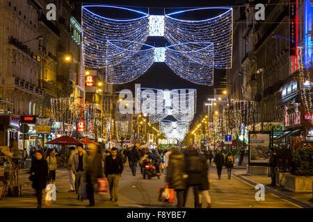 Weihnachtszeit in Brüssel, Belgien, Weihnachtsmärkte und Beleuchtung in der Altstadt, - Stockfoto