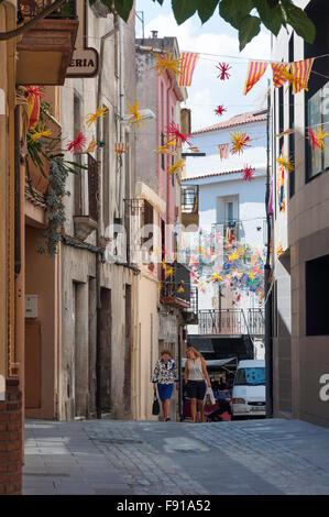 Gasse, Tordera, Maresme County, Provinz Barcelona, Katalonien, Spanien - Stockfoto