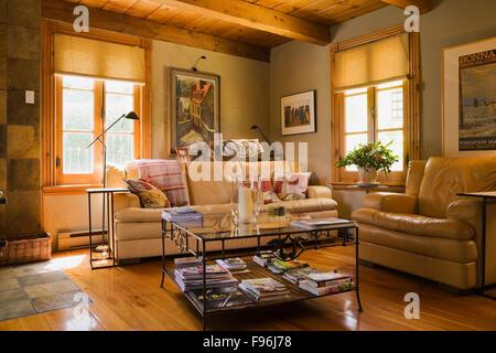 Sahne und Senf bunten Ledersofas und Glastisch im Wohnzimmer in einem gestapelten Blockhaus, Montérégie, Quebec, - Stockfoto