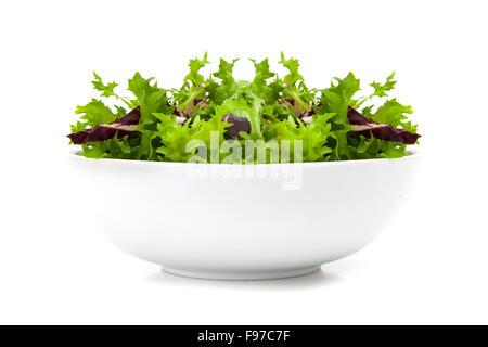 Schüssel mit gemischter Salat mit Rucola, Frisee, Radicchio und Feldsalat. Isoliert auf weißem Hintergrund