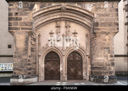 Eingangsportal der Kirche, Frauenkirche, 1449, Görlitz, Oberlausitz, Sachsen, Deutschland - Stockfoto