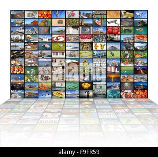 Eine Vielzahl von Bildern als eine große Videowand auf dem TV-Bildschirm - Stockfoto