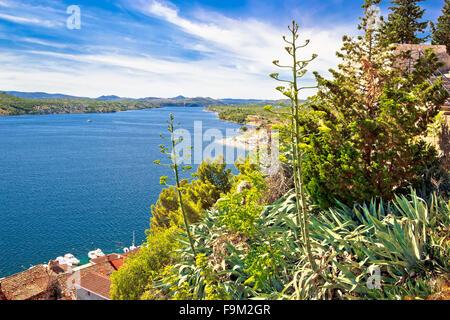 Sibenik Bucht Natur Luftaufnahme, Dalmatien, Kroatien - Stockfoto