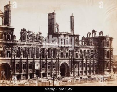 Die Ruinen des Hôtel de Ville (Rathaus), Paris, Frankreich, im September 1871. Kurz nach dem deutsch-französischen - Stockfoto