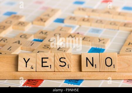 Scrabble - Ja Nein - Stockfoto