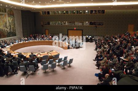 New York, Vereinigte Staaten von Amerika. 17. Dezember 2015. Ein Blick auf die Security Council Chamber. Als Teil - Stockfoto