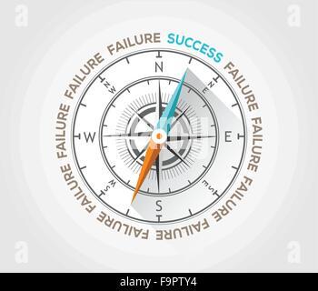 Vektor-Kompass über Marketing und Leben - Stockfoto