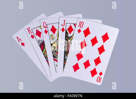 Poker Hand Royal Fush - Stockfoto