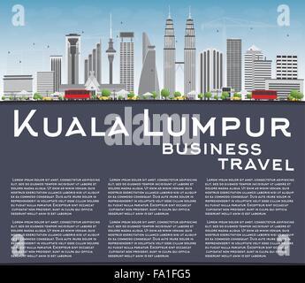 Skyline von Kuala Lumpur mit grauen Gebäude, blauer Himmel und Textfreiraum. Vektor-Illustration. Business-Reisen - Stockfoto