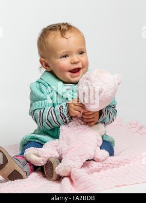 Studio Foto von niedlichen einjähriges Baby Mädchen - Stockfoto