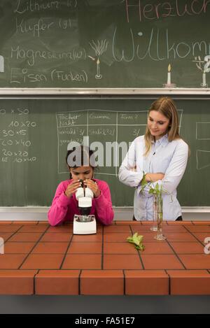 Deutsches Schulmädchen wird im Klassenzimmer gesichtsbehandelt