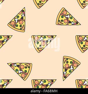 Vektor-farbigen Dreieck Pizza Slice Pilze Oliven Peperoni Chili Pfeffer Käse Tomate Musterdesign auf hellen orange - Stockfoto