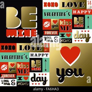 Valentinstag Retro-Muster mit Kennzeichnungselemente in Goldfarbe. Enthält Zitate, Lippenstift und Herz Dekoration - Stockfoto