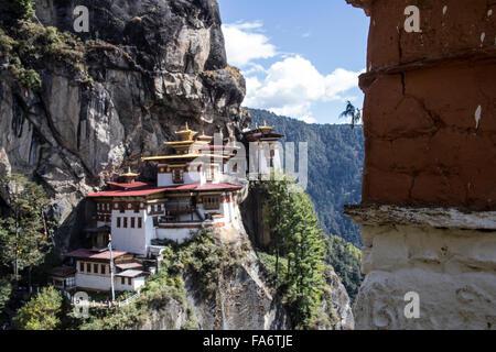 Tiger Nest Taktsang Palphug Kloster Paro Bhutan - Stockfoto