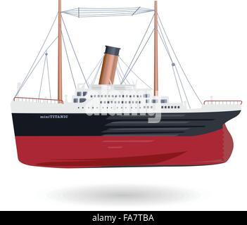 Mini-Titanic - kurze rote legendäre lustige Boot komische Schiff auf weißes Symbol Symbol glätten isolierte Abbildung - Stockfoto