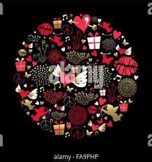 Valentinstag Grußkarten-Design, Satz von Vintage-Stil-Ikonen in gold und rosa Farben. Herzform, Engel, Kuss beinhaltet. - Stockfoto
