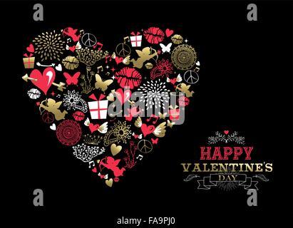 Valentinstag-Grußkarte, Retro-Symbole machen Herz Form Silhouette in gold und rosa Farben mit ornamentalen Text - Stockfoto