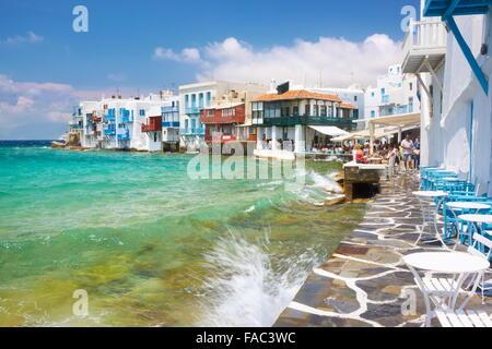 Mykonos-Stadt (Klein-Venedig), Insel Mykonos, Kykladen, Griechenland - Stockfoto