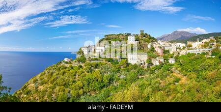 Nonza, kleinen Bergdorf, Cap Corse, Korsika, Frankreich - Stockfoto