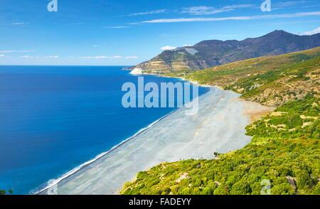 Black Beach in Nonza, Kleinstadt am Cap Corse, Korsika, Frankreich - Stockfoto