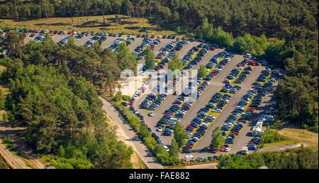Silbersee II zwischen Haltern und Dülmen, Parkplatz, See, Steinbruch, Quarzsand Extraktion durch die Quarzwerke, - Stockfoto