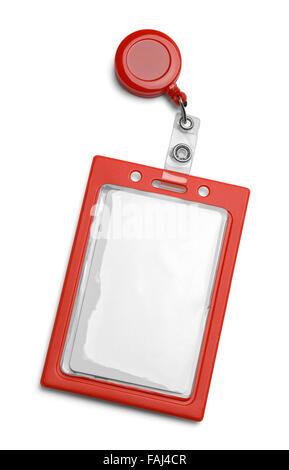 Rot-ID-Kartenhalter isoliert auf einem weißen Hintergrund. - Stockfoto