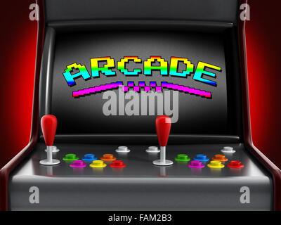 Vintage-Arcade-Maschine mit Joysticks und Drucktasten für zwei Personen. - Stockfoto