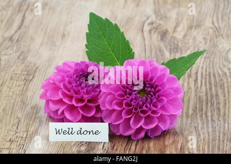 Erhalten Sie gut Karte mit rosa Dahlie Blumen auf Holzuntergrund ...