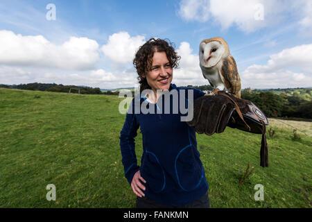 Frau, die Schleiereule (Tyto Alba) am Handschuh Dartmoor, England, Großbritannien, Vereinigtes Königreich, Europa - Stockfoto