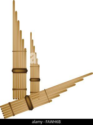 Zur Veranschaulichung der traditionellen Laos und Thailand Musikinstrument, braune Farbe der hölzernen Panflöte, - Stockfoto