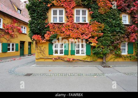 Herrengasse, Fuggerei, Augsburg, Schwaben (Swabia), Bayern (Bayern), Deutschland - Stockfoto