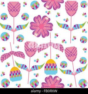 Bunte Blumenmuster nahtlose und nahtlose Muster im Swatch-Menü, Vektor-Bild - Stockfoto