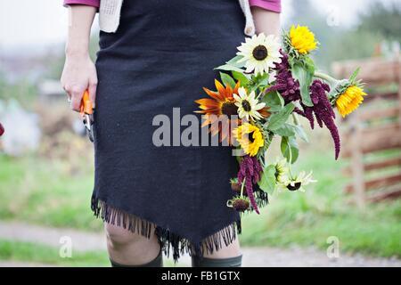 Taille abwärts Blick auf Frau schneiden frische Blumen bei Zuteilung - Stockfoto