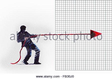 Geschäftsmann, die einstweilige Verfügung Pfeil aus der Förderung auf Liniendiagramm - Stockfoto