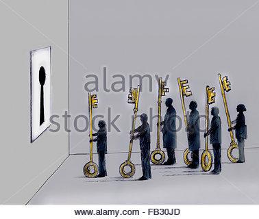 Business-Leute Schlange, um die verschiedene Tonarten in große Schlüsselloch versuchen - Stockfoto
