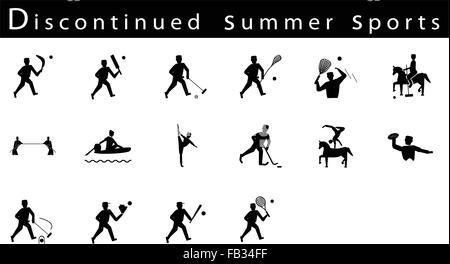 Abbildung Sammlung von 16 eingestellt Sommersport Symbole auf weißem Hintergrund. - Stockfoto