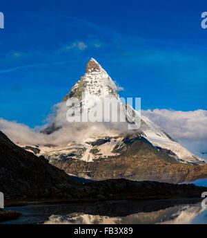 Berg Matterhorn, Monte Cervino, Mont Cervin, 4,478 m, Walliser Alpen, Rotenboden, Zermatt, Wallis, Schweiz - Stockfoto