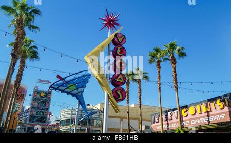"""Start der Fremont Street, der """"Fremont Experience,"""" in Las Vegas Downtown (""""alten""""). - Stockfoto"""