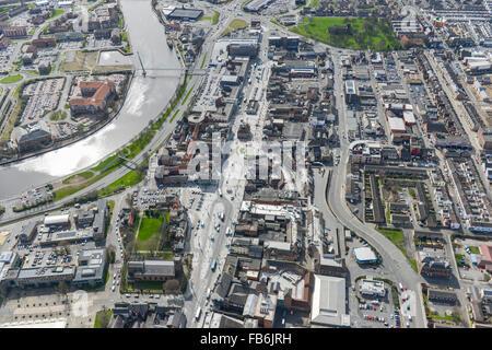 Eine Luftaufnahme von Stockton auf Tees Innenstadt und Fußgängerzone