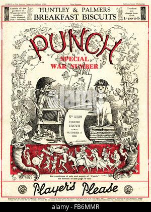 Cover der Zeitschrift Punch datiert 4. Oktober 1939 Krieg Sonderausgabe. - Stockfoto