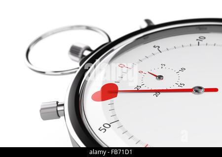 Ein Herz auf ein Chronometer mit weißem Hintergrund. 3D-Darstellung der Geschwindigkeit dating Konzept oder Liebe - Stockfoto