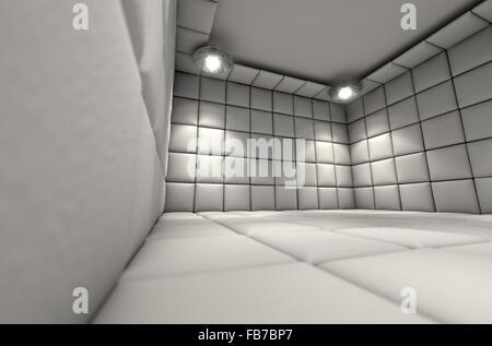 Eine weiße Gummizelle in einer psychiatrischen Klinik - Stockfoto