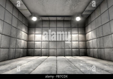 Eine schmutzige weiße Gummizelle in einer psychiatrischen Klinik - Stockfoto